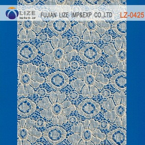 Hot selling High End Flower Pattern Design Votton Viscose guipure lace fabric 2016 cord lace lz-0425