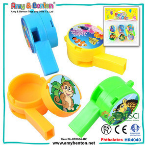 Hot selling items funny cartoon plastic candy whistle toy