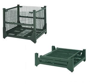 Light duty warehouse demountable steel wire mesh folding storage cage