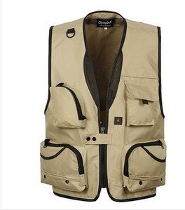 Man's Outdoor Multi-pocket Fishing Vest Outdoor Hiking Photography Canvas Vest Waistcoat Of Photographer made in China