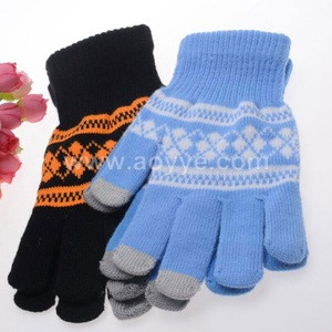 Manufacturers wholesale three finger touchscreen grid jacquard gloves