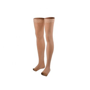 Medical below knee jobst compression stocking thigh high open toe socks