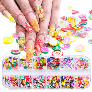 Mixed Styles 3D Colorful Tiny Slices Sticker Polymer Clay DIY Designs Slice Nail Art Decors Women Tips Fruit Slice Nail Art