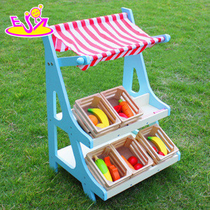 New products pretend play toy fruits and vegetables wooden play shop for kids W10A053