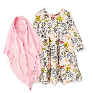 Spring Autumn Girl kids dress Long Sleeve islamic clothing Floral Muslim Dress girls casual dresses