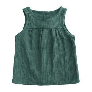 Summer hot sale solid color breathable baby sleeveless tank tees linen baby sleeveless vest