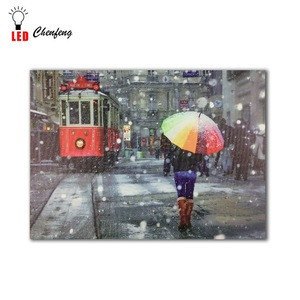 Trolleybus with umbrella woman in sonw led wall picture canvas painting decor for home wholesale in china cheap drop ship