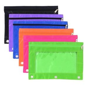 Wholesale Promotional PVC Plastic Transparent Bag 3 Ring Pencil Case
