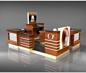 Wood hair service kiosk with your logo/bar display kiosk for hair