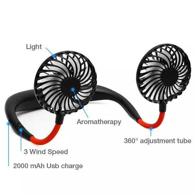 Mini USB Portable Fan Neck Fan Neckband With Rechargeable Battery Small Desk Fans