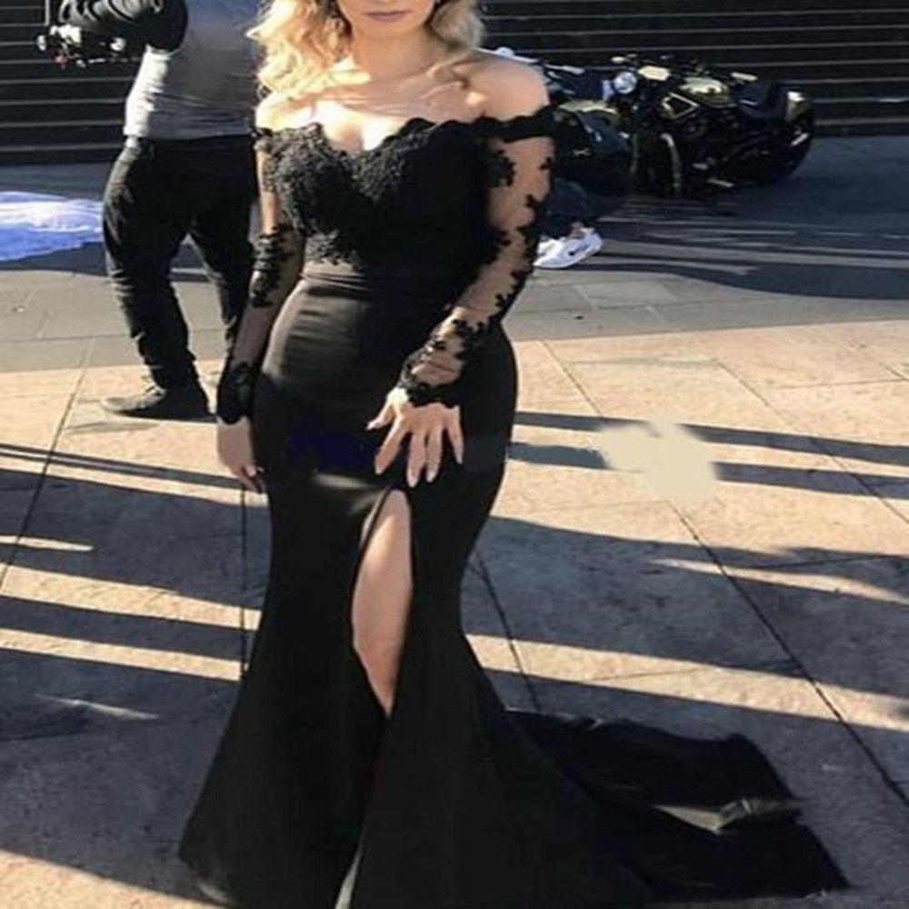 2020 Latest Arrival Elegant Black Long Sleeves Evening Dresses Lace Long Mermaid Side Split Sweetheart Prom Party Dresses
