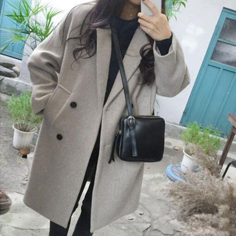 New Women Woolen coat Warm Long Sleeve Turn-down Collar Outwear Jacket Ladies Autumn Winter Casual Elegant Overcoat
