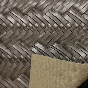 1.0MM weave pattern PVC leather SLD735 knitted backing material durable and morden embossing leather for Bag and card