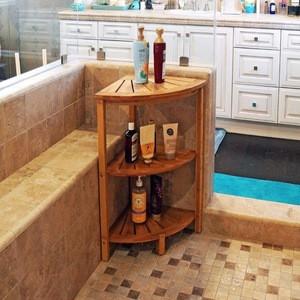 3 Tier Wood Bamboo Bathroom Corner