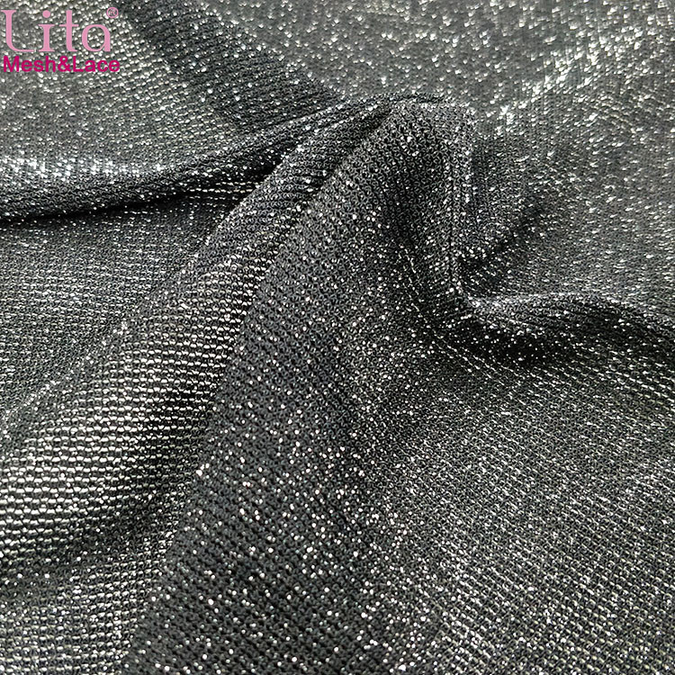 Lita J202240# elastic shinning tulle nylon-spandex mesh fabric with silver glitter yarn good quality net fabric