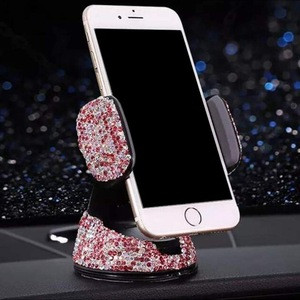 Bling Crystal Car Phone Mount With One More Air Vent Base,Universal Cell Phone Holder For Dashboard,Windshield And Air Vent