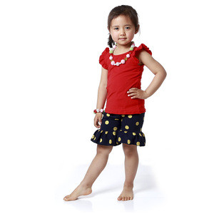 Cap Sleeve Top Red Top and Ruffle Gold Dot Pants Set Chinese Clothing Manufacturers