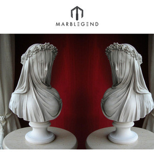 Custom european style hand made natural marble stone bride lady bust statues for sale