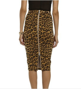 Custom Ladies sexy leopard Printed Knee High Length Straight Pencil Midi Skirt