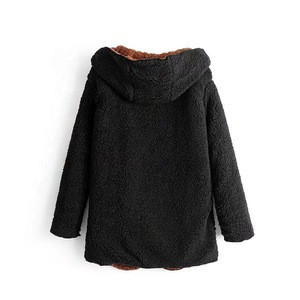 Fashion New Style Hight Quality Winter Block Color  Hooded Teddy Coat For Women