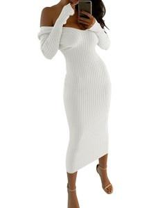 Hot Selling 2018 Amazon Elegant Off Shoulder Wear Bodycon Ladies Check Work Dress