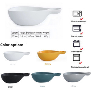 Hot selling ceramic salad bowl with handle for fruit salad/snack/breakfast