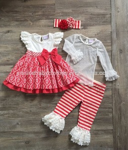 Lace ruffle long pants fall stripe red trousers girl boutique outfit set