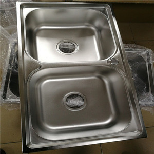 Myanmar Vietnam Mid-East Africa Russia Cheap Electric Finish Stainless Steel Double Bowls Kitchen Sinks