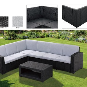 Outdoor Sectional Corner Group Injected Plastic Imitate Poly Rattan Sofa Set Garden Line Patio Furniture