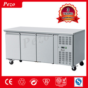 PEZO Stainless Steel kitchen equipment refrigerator Working table bench fridge counter top refrigerator