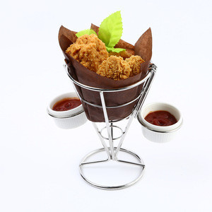 Stainless steel French Fry Cone with Sauce cup Single stainless steel with tow hooks &two sauce cup F0065