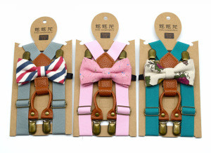 Toddler Kids Pants Accessories Durable 4 Clips Adjustable Boys Suspenders Bow Tie Set High End PU Leather M90927