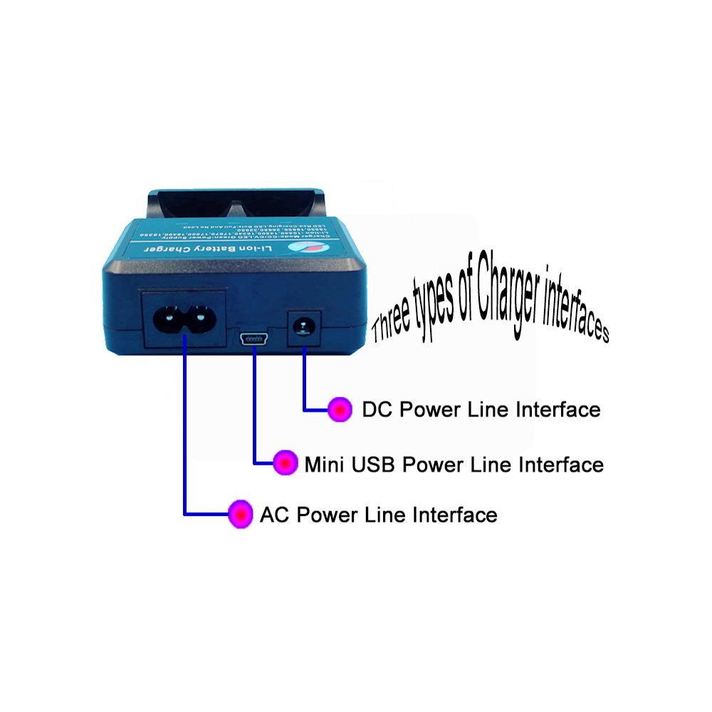 Li-ion Battery Charger with Universal Charger, Double Tank and Double Charge 3.7V Lithium Battery