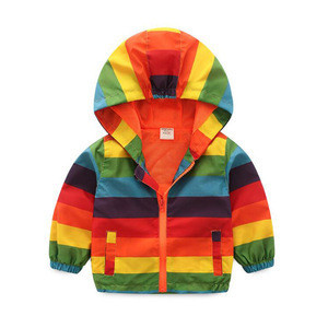 2-6T Kids Children Boys Rainbow Stripe Autumn Coat Jackets