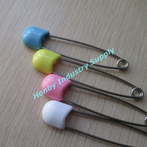 Baby Care Supplies 55mm Colorful Plastic Head Stainless Steel Safe Lock Baby Diaper Pin