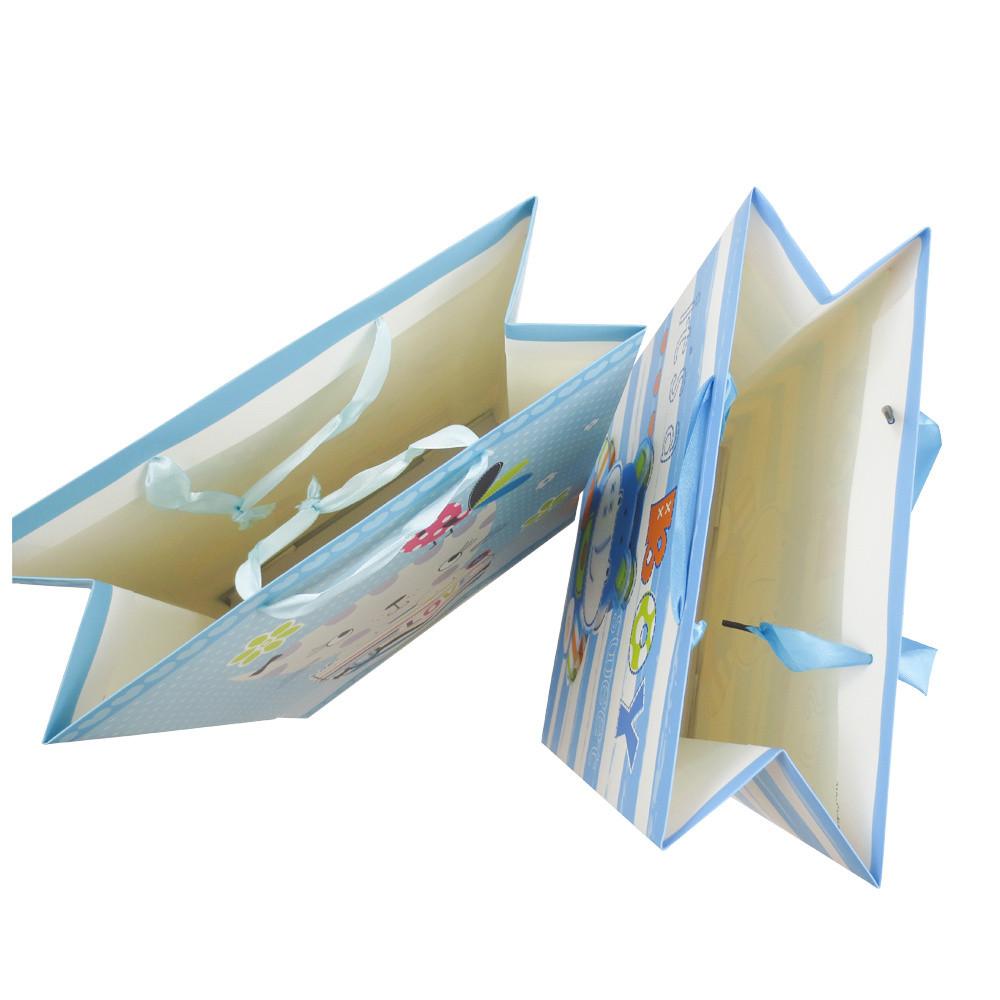 Custom Matt Lamination 3D Finishing Wrapping Gift Paper Bag with Ribbon Handle