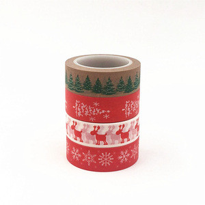Custom snow deer Christmas tree decorative washi tape DIY scrapbooking masking tape school office supply
