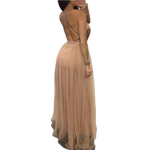 Fashion apparel sexy long party sleeve gold sequin women dress