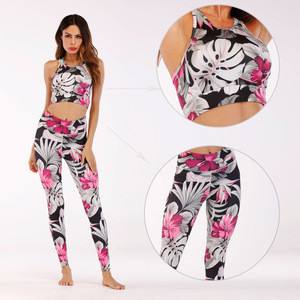 Gym fitness /*2pou PRINT SHORTS & sports bra SET active wear top