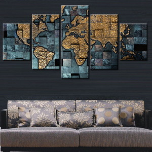 High Quality Home Decoration 5pcs printed Canvas Wall Art new design about word map Oil Paintings