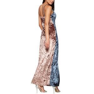 Hot Sale Popular Spaghetti Strap Women Sexy Color Block Evening Dresses 2018