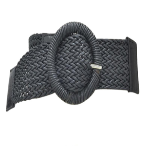 Popular wide wax  cord woven  women dresses knitted strap waistband belts with circle top