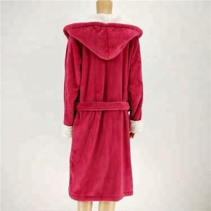 Super cozy coral pompom fluffy robe sherpa hood cuff women fleece bathrobe ladies long nightgown