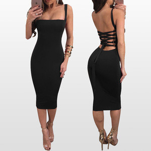 2018 Stylish Women Solid Sexy Bodycon Dress Nightclub White Blue Spaghetti Strap Lady Party Sheath Midi Bandage Dress