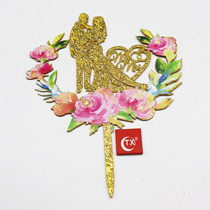 3D art painting Mr & Mrs person Cake Topper  gold sliver printing wedding decorating event party supplies with inner card