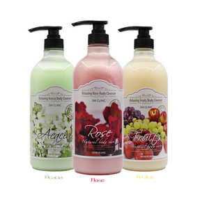 3W CLINIC RELAXING BODY CLEANSER ROSE moisturizing body wash shower gel K-beauty Korea cosmetic