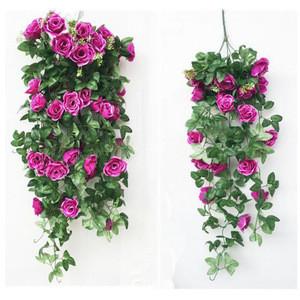 Artificial wall hanging flower hanging basket flower decorative roses flowers vine