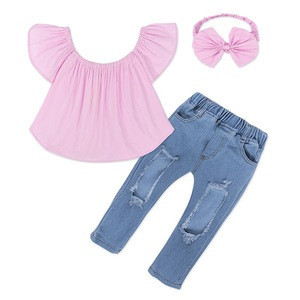 Bow headdress pink shoulder shirt hole jeans 3 piece baby girls summer clothing set