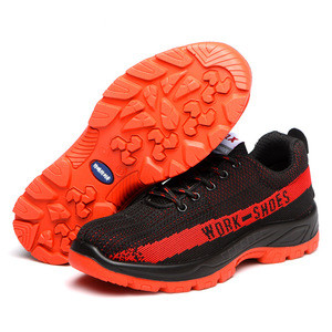 Cheap Jogger Safety Shoes with Steel Toe Orange Knitted Fabric Breathable Climbing Shoes