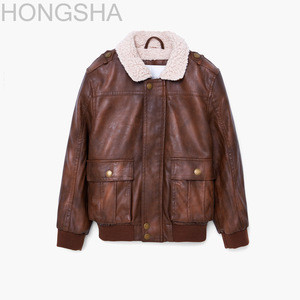Children's Sheepskin Shearling Coats Kids Sheepskin Leather Flight Jacket HSC1412